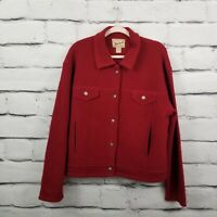 Vintage Woolrich Womens Size Large Red Jacket Virgin-Wool Button-Up Jacket