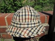 M - Vintage 1976 Mens DAKS Simpson Brown Check Tweed Hat