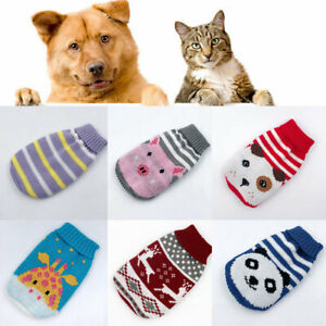 Winter Cartoon Knit Puppy Dog Jumper Sweater Pet Clothes For Small Dogs Cat Coat