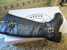 NEW STEVE MADDEN WILLITS BLACK LEATHER TALL BOOTS WOMENS 9 FREE SHIP