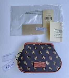 Dooney & Bourke Gretta Tmoro Brown Logo Large Framed Kisslock Coin Purse Bag