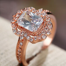 Womens Rose Gold Plated Zircon Diamond Ring Silver Crystal Wedding Jewelry Rings