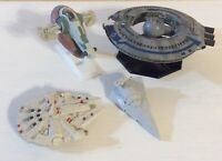 "Star Wars Ships Diecast & Plastic Lot Of 4 Trade Federation Battleship 3""-4"""