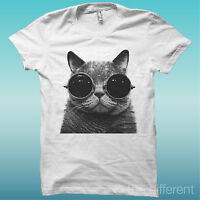 T-SHIRT GATTO CON OCCHIALI CAT FUNNY BIANCO THE HAPPINESS IS HAVE MY T-SHIRT NEW