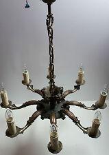 Jugendstil  KRONLEUCHTER  LÜSTER Lampe  messing  bronze  chandelier  8-flammig