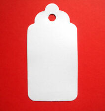 100 SMALL SCALLOPED GIFT TAGS PRICE LABELS WHITE