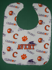 CLEMSON UNIVERSITY TIGERS +PERSONALIZED BABY BIB Cotton +Terry Large Made in USA