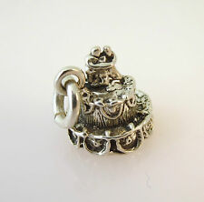 .925 Sterling Silver 3-D Bride & Groom Top WEDDING CAKE CHARM Pendant 925 WD02