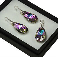 925 Silver Earrings/Set made with Swarovski Crystals 22mm PEAR - Vitrail Light
