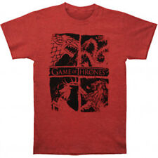 """Game Of Thrones """"FOUR HOUSE SIGILS"""" T-Shirt Red Tee NWT 100%Official & Authentic"""
