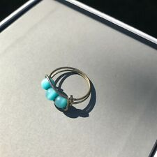 Silver Wire Adjustable Toe Ring 3 Tropical Blue Cat Eyes Beads