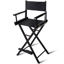 Professional Black Folding Wood Makeup Artist Directors Chair Footrest Portable
