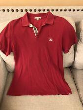 Burberry Brit Maroon Polo Mens nova check collar  Sz M Medium Shirt Print