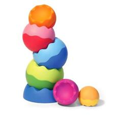 Tobbles Neo Stacking Toy 6 Mos+   ABS Plastic Neon Colors Stack and Topple FUN!