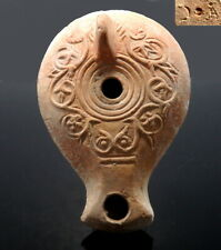 ROMAN TERRACOTTA OIL LAMP WITH FLORAL DECORATION & MAKER'S MARK (N514)