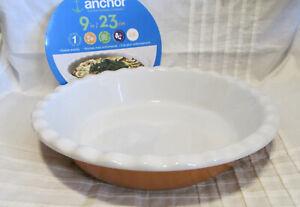 "NEW ANCHOR HOCKIN 9"" Ceramic Ruffled Deep Pie Dish Plate - PUMPKIN"