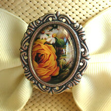HATPIN - VICTORIAN GOLD ROSES GLASS CAMEO ON SILVER FINISH
