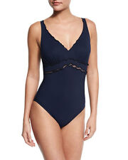 NWT Shan Forever Young Frill-Trim One-Piece Swimsuit, Blue - Size 16