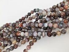 Botswana agate round beads 8mm. Genuine gemstone beads. Full strand