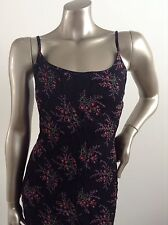 black Summer Black print Floral dress Size 16 Viscose Fabric EXCELLENT COND