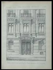PARIS, 33 RUE HENRI ROCHEFORT - 1886 -  2 PLANCHES ARCHITECTURE - PASQUIER