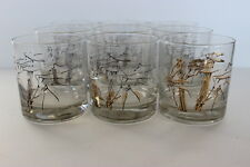Vintage COUROC Set of 9 On the Rocks Drinking Glasses Gold Bamboo Pattern 3.5""
