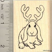 Christmas rabbit reindeer rubber stamp H11118 WM