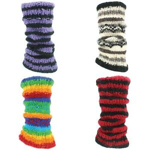 Leg Warmers Wool Knit Fleece Lined Hippie RAINBOW Slouch Boot Socks Dance