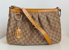 Gucci señora bolso handbag de original GG canvas cuero detalles nuevo