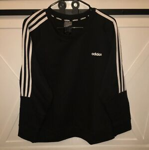 NWT - adidas Women's 3-Stripe Pullover Fleece Crew Sweatshirt Black - Size 2XL