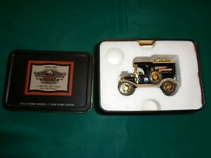 New Ertl Harley Davidson 1913 Ford Model T Van Dime Bank With Tin 1:43 Scale