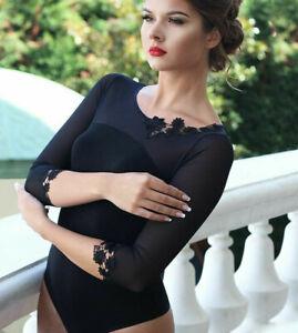 Women Black Bodysuit Long Sleeve Top Blouse Lace Crew neck Body Suit Lingerie