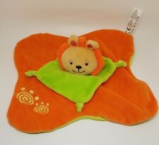 Doudou plat lion LOGITOYS orange vert spirale grelot NEUF