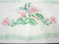 Vtg Pair of Standard Pillowcases Floral Embroidery with Mint Lace Edging USA