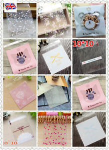 New 10x10cm Self Adhesive Cute Plastic Cookie Candy Gift Packaging bags 100pcs