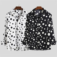 INCERUN Men's Collar Shirt Long Sleeve Polka Dot Formal Casual Slim Blouse Tops
