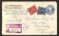 USA U172 STATIONERY #332 & 335 STAMPS NEW YORK TO CANADA REGISTERED COVER 1911