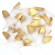 36 Gold Dipped White Natural Feathers Decor DIY Craft Party Decoration 15-20cm