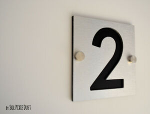 Modern House Numbers, One Number Square Alucobond with Black Acrylic - Plaque