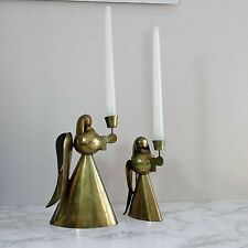 Brass Angel Candle Holders Set Pair Christmas Holiday Vintage decor