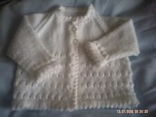 Hand Knitted White Baby Girls Cardiagn/Coat Size 3-6 Months.