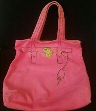 "Vintage Michael Kors Tote Bag Pink Canvas Cotton Shopping Beach 14"" x 14"""