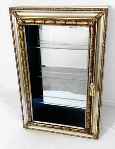 Large Mirrored Silver & Gold Hanging Curio Cabinet Hollywood Chinoiserie Deco