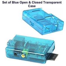 Set of Raspberry Pi Case / Box – Open & Closed Blue Transparent