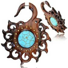 "PAIR 18G SONO WOOD FAUX FAKE CHEATER PLUGS TURQUOISE 2"" 7/8 INCH GAUGES TALONS"
