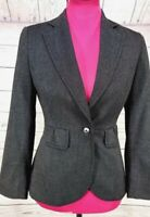White House Black Market Womens  Blazer Jacket Sz 0 One Button Lined Gray