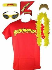 Hulk Hogan Hulkamania Red T-shirt Bandana Beard Boa Glasses Costume