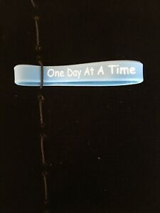 One Day At A Time Stretch Wristband Carolina Blue  W/White Letters New