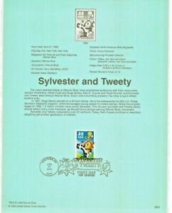 SYLVESTER THE CAT & TWEETY BIRD CARTOONS  #32041A 1990 USPS FD Souvenir Page