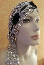 Gatsby 20's Boho Silver Black Illusion Jewel Mesh Crystal Bridal Headpiece Party